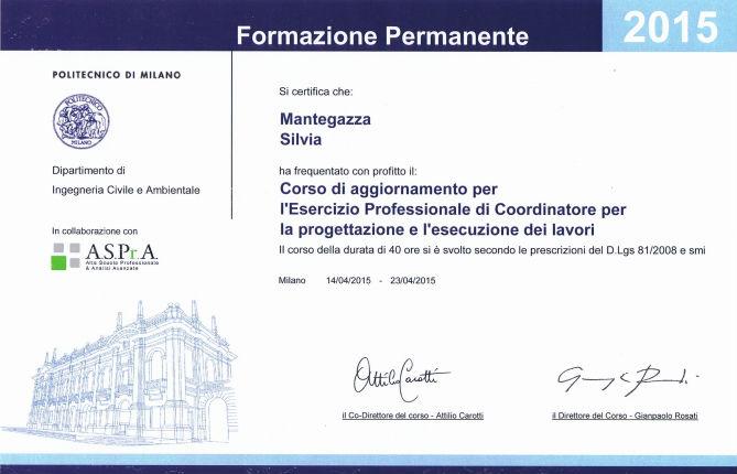 certificato coordinatore per la progettazione